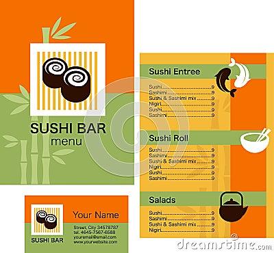 Modelo del menú del sushi y tarjeta de visita, con insignia