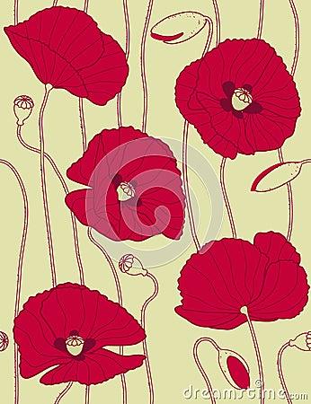 Modelo inconsútil floral retro, popies