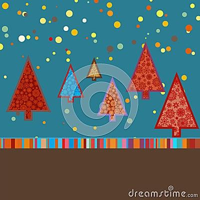 Modelo retro de la tarjeta de Navidad. EPS 8