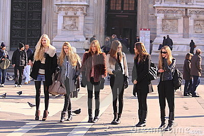 Models backstage in the street milan