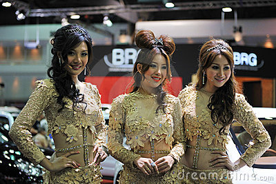 Models at a Bangkok Motor Show Editorial Stock Image