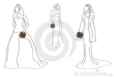 Models with bridal gowns