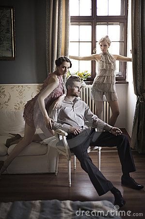 Models posing in a stylish interior