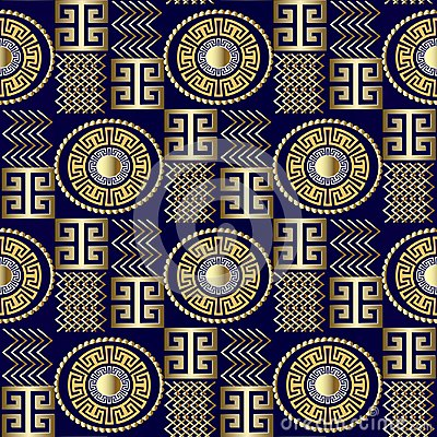 Free Modern 3d Greek Seamless Pattern. Vector Patterned Geometric Bac Royalty Free Stock Images - 117484919