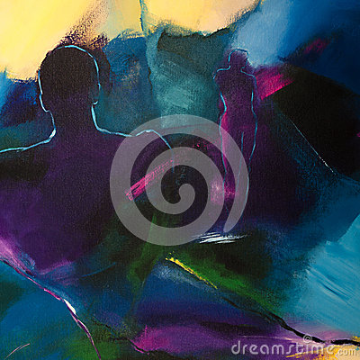 Modern abstract acrylic painting with two human fi