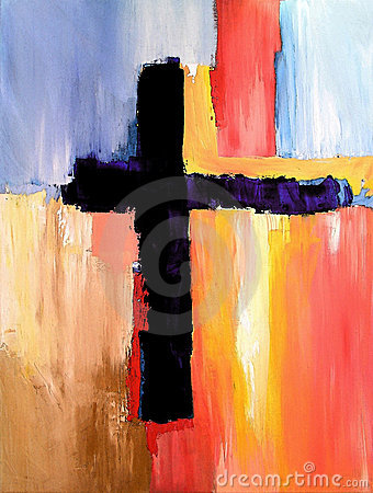 Modern Abstract Art with Cross