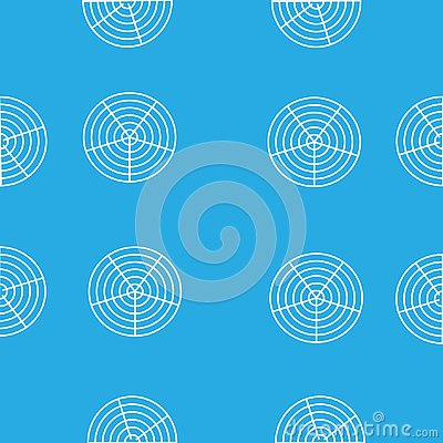 White round circles in the grid on a blue background Vector Illustration