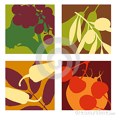 Modern abstract  fruit and vegetable designs