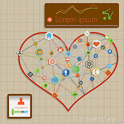Modern  abstract info graphic design - heart lines
