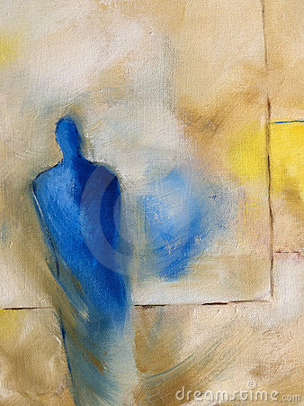 Modern abstract oil-painting of a standing figure