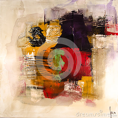 Free Modern Abstract Painting Fine Art Artprint Royalty Free Stock Photos - 46317328