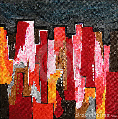 Modern Abstract Painting / Skyline by Night