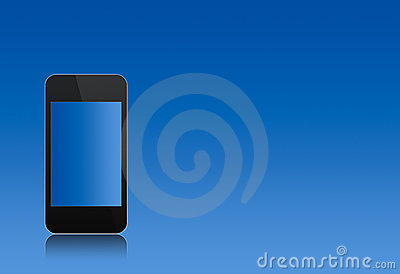 Modern abstract touchscreen phone over the blue