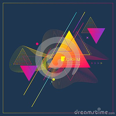 Free Modern Abstract Triangle Geometric Pattern Design And Background With Dynamic Linear Waves. Vector Illustration Suitable Stock Image - 119137611