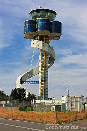 Modern airport control tower in Australia.