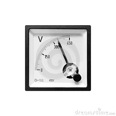 Free Modern Analog Electric Voltmeter In Black Frame Stock Photography - 54939132