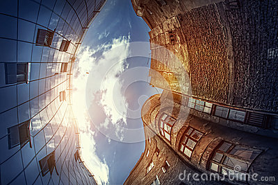 Modern vs ancient architecture royalty free stock - Contemporary vs modern architecture ...