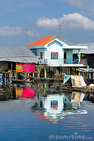 Free Modern And Old  House On The River,  Cambodia. Stock Photography - 9893352