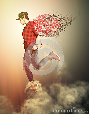 Free Modern Angel Boy With Wings Walking On The Clouds. Youth Power Royalty Free Stock Photos - 71003958