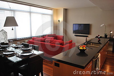 Modern apartment with open kitchen living dining foto spiderpic royalty vrije stock foto 39 s - Keuken ontwikkeling in l ...