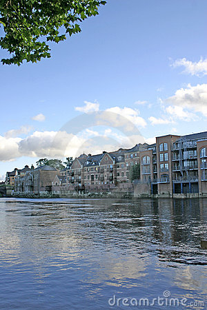 Free Modern Apartments On The River Ouse In York Stock Image - 1292971