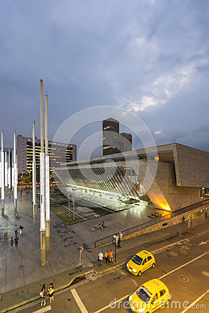Free Modern Architecture At The Park Of Lights In Medellin At Night Royalty Free Stock Image - 77160746