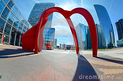 Modern architecture in the business district of La Defense, Pari Editorial Photo