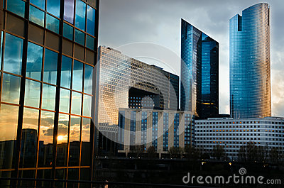 Modern architecture in La Défense  late at night Editorial Photography