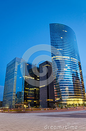 Modern architecture in La Défense  late at night Editorial Stock Image