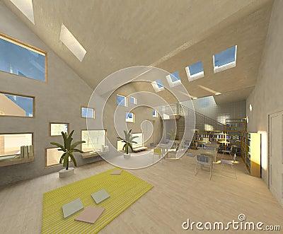 Modern architecture room, loft