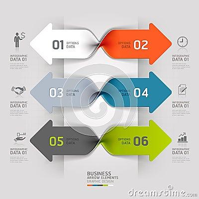Modern arrow business spiral infographics option.