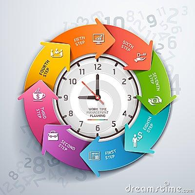 modern arrow work time management template stock vector