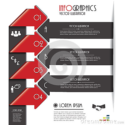 Modern arrows for Infographics template with letters and numbers