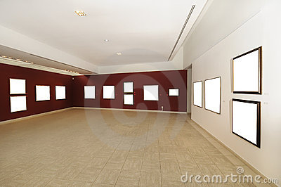 Modern art gallery space with blank canvas
