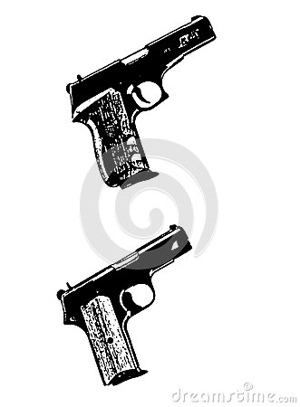 Modern automatic hand gun pistols, black on white