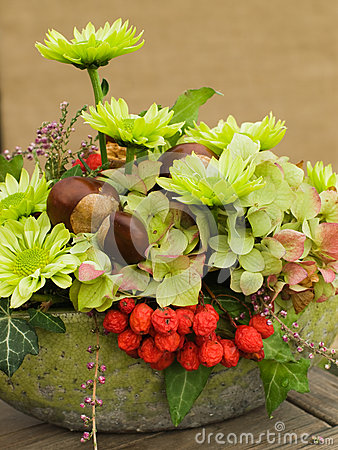 Modern autumnal flower arrangement