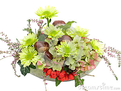 Modern autumnal flower arrangement on white