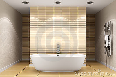 Modern bathroom with beige tiles on wall