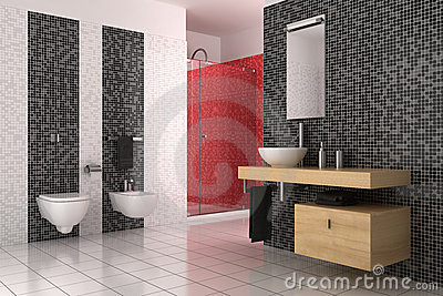 Modern Bathroom With Black Red And White Tiles Royalty