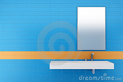 Modern bathroom with blue and orange tiles