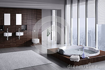 Modern bathroom with double basin and jacuzzi