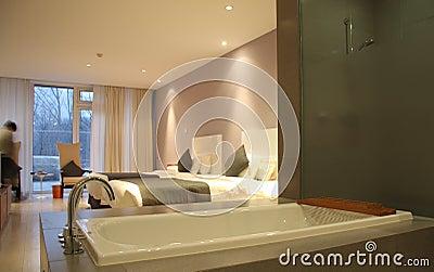 Modern bathroom and hotel room