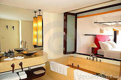 Modern bathroom interior at the luxury villa