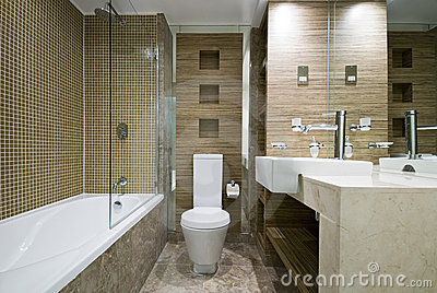 Modern bathroom with marble floor and mosaic tiles