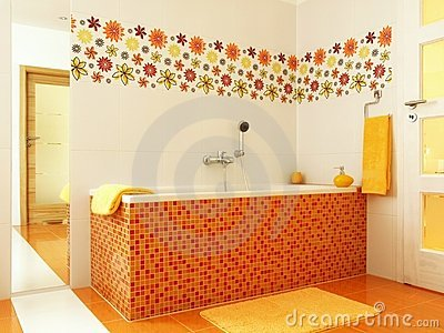 Modern bathroom in orange color