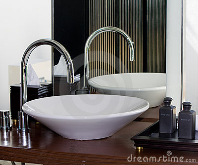 Modern bathroom tap and sink