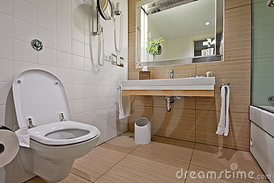 Modern bathroom with  toilet sink