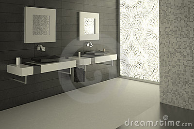Modern bathroom view with a decorated large glass