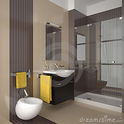 Modern beige bathroom with wood furniture