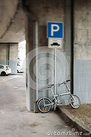 Modern bike in urban parking